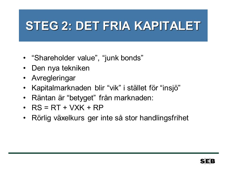 STEG 2: DET FRIA KAPITALET Shareholder value , junk bonds Den nya tekniken Avregleringar Kapitalmarknaden blir vik i stället för insjö Räntan är betyget från marknaden: RS = RT + VXK + RP Rörlig växelkurs ger inte så stor handlingsfrihet