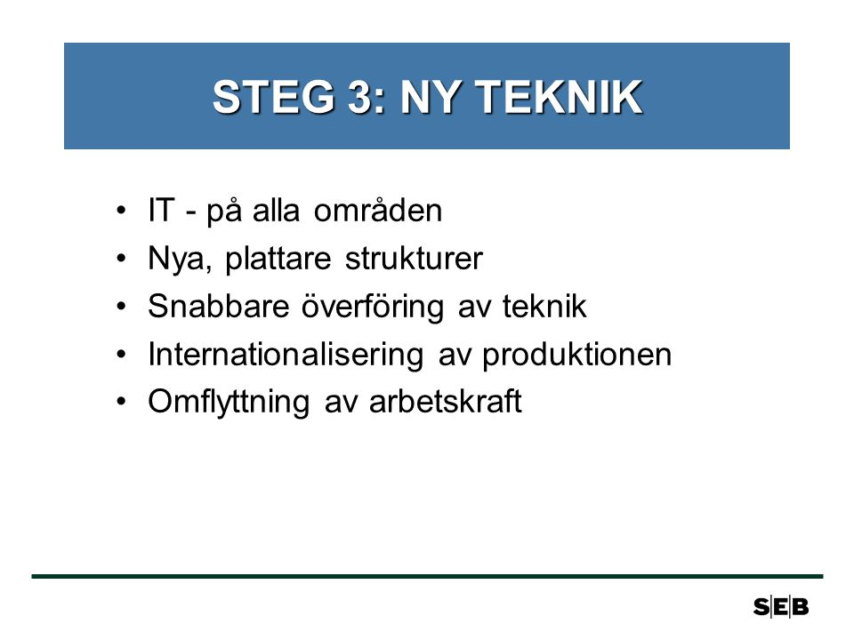 STEG 3: NY TEKNIK IT - på alla områden Nya, plattare strukturer Snabbare överföring av teknik Internationalisering av produktionen Omflyttning av arbetskraft