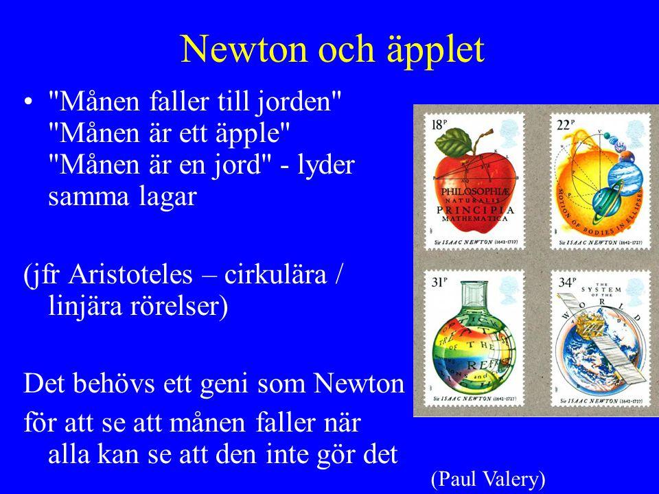 Newton och äpplet Månen faller till jorden Månen är ett äpple Månen är en jord - lyder samma lagar (jfr Aristoteles – cirkulära / linjära rörelser) Det behövs ett geni som Newton för att se att månen faller när alla kan se att den inte gör det (Paul Valery)