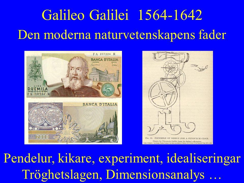 Galileo Galilei 1564-1642 Den moderna naturvetenskapens fader Pendelur, kikare, experiment, idealiseringar Tröghetslagen, Dimensionsanalys …