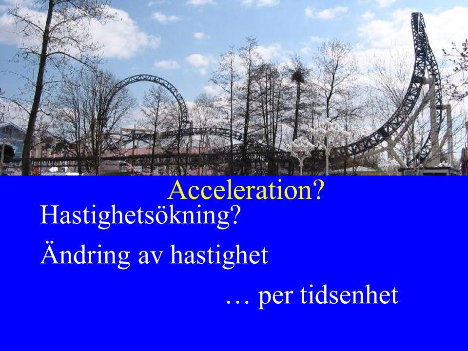 Acceleration? Hastighetsökning? Ändring av hastighet … per tidsenhet