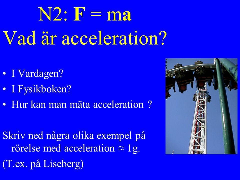N2: F = ma Vad är acceleration.I Vardagen. I Fysikboken.