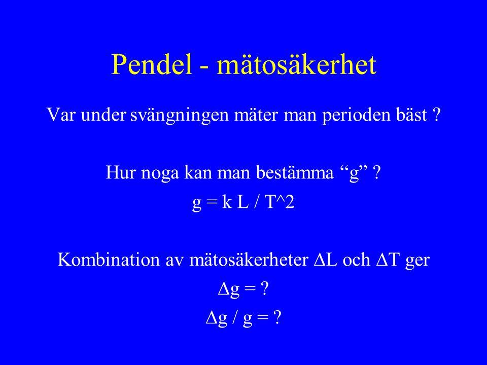 Pendel - mätosäkerhet Var under svängningen mäter man perioden bäst .