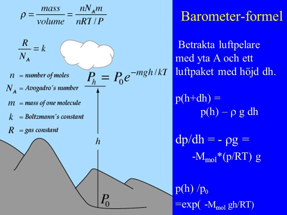 Barometer-formel Betrakta luftpelare med yta A och ett luftpaket med höjd dh.