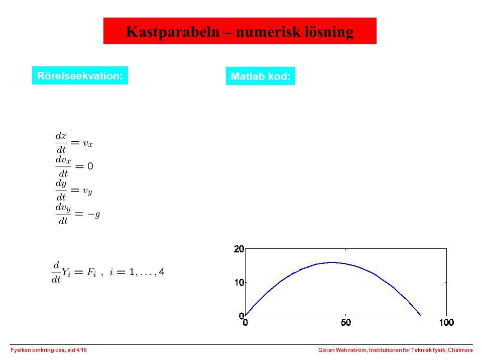Kastparabeln – numerisk lösning Fysiken omkring oss, sid 4/16Göran Wahnström, Institutionen för Teknisk fysik, Chalmers Rörelseekvation: Matlab kod: Skriv om rörelseekvationen som ett system av första ordningens differentialekvationer eller function test() % Exempel: v0 = 30 m/s, vinkel 36 grader v0=30; u=36*pi/180; x0=0; y0=0; vx0=v0*cos(u); vy0=v0*sin(u); tfinal=2*vy0/9.81; [t,Y]=ode45(@nodrag,[0 tfinal],[x0 vx0 y0 vy0]); x=Y(:,1); y=Y(:,3); plot(x,y); function dYdt = nodrag(t,Y) % ODEFUN(T,Y) ska returnera en kolonnvektor g=9.81; dYdt=zeros(4,1); dYdt(1)=Y(2); dYdt(2)=0; dYdt(3)=Y(4); dYdt(4)=-g; längd (m) höjd (m)