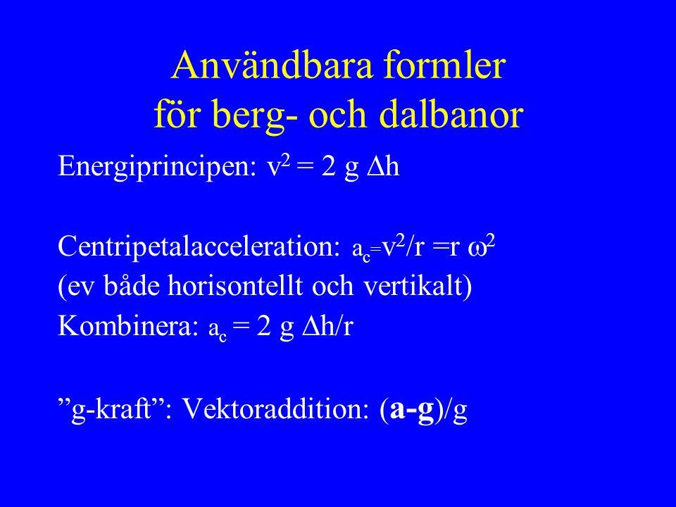 Användbara formler för berg- och dalbanor Energiprincipen: v 2 = 2 g  h Centripetalacceleration: a c = v 2 /r =r  2 (ev både horisontellt och vertikalt) Kombinera: a c = 2 g  h/r g-kraft : Vektoraddition: ( a-g )/g