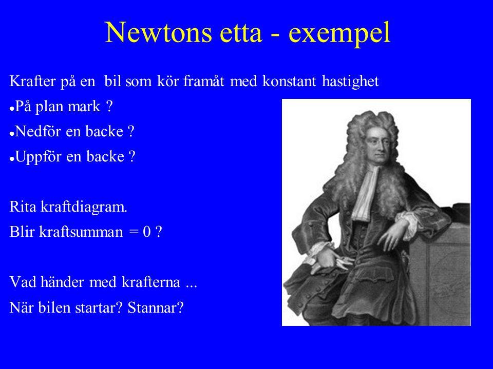 Newtons etta - exempel Krafter på en bil som kör framåt med konstant hastighet På plan mark .