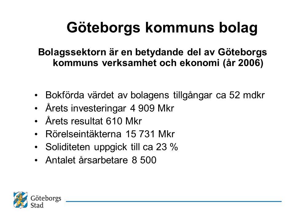 Göteborgs kommuns bolag Bolagssektorn är en betydande del av Göteborgs kommuns verksamhet och ekonomi (år 2006) Bokförda värdet av bolagens tillgångar ca 52 mdkr Årets investeringar 4 909 Mkr Årets resultat 610 Mkr Rörelseintäkterna 15 731 Mkr Soliditeten uppgick till ca 23 % Antalet årsarbetare 8 500