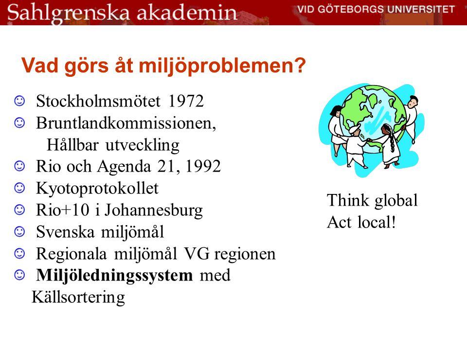 Stockholmsmötet 1972 Bruntlandkommissionen, Hållbar utveckling Rio och Agenda 21, 1992 Kyotoprotokollet Rio+10 i Johannesburg Svenska miljömål Regionala miljömål VG regionen Miljöledningssystem med Källsortering Vad görs åt miljöproblemen.