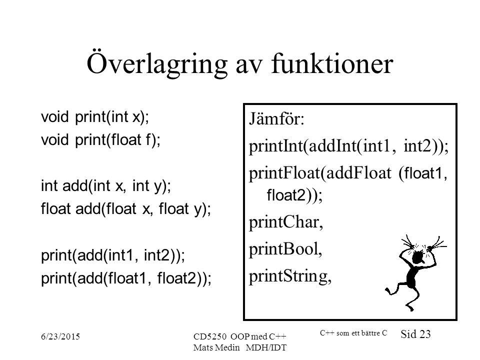C++ som ett bättre C Sid 23 6/23/2015CD5250 OOP med C++ Mats Medin MDH/IDT Överlagring av funktioner void print(int x); void print(float f); int add(int x, int y); float add(float x, float y); print(add(int1, int2)); print(add(float1, float2)); Jämför: printInt(addInt(int1, int2)); printFloat(addFloat ( float1, float2 )); printChar, printBool, printString,