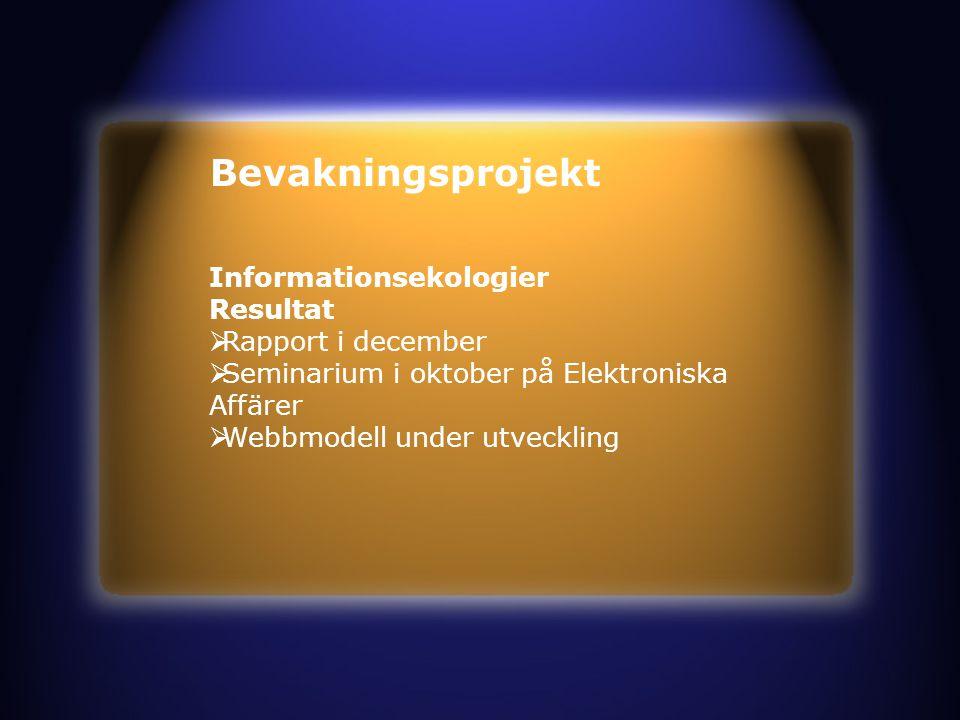 Bevakningsprojekt Informationsekologier Resultat  Rapport i december  Seminarium i oktober på Elektroniska Affärer  Webbmodell under utveckling