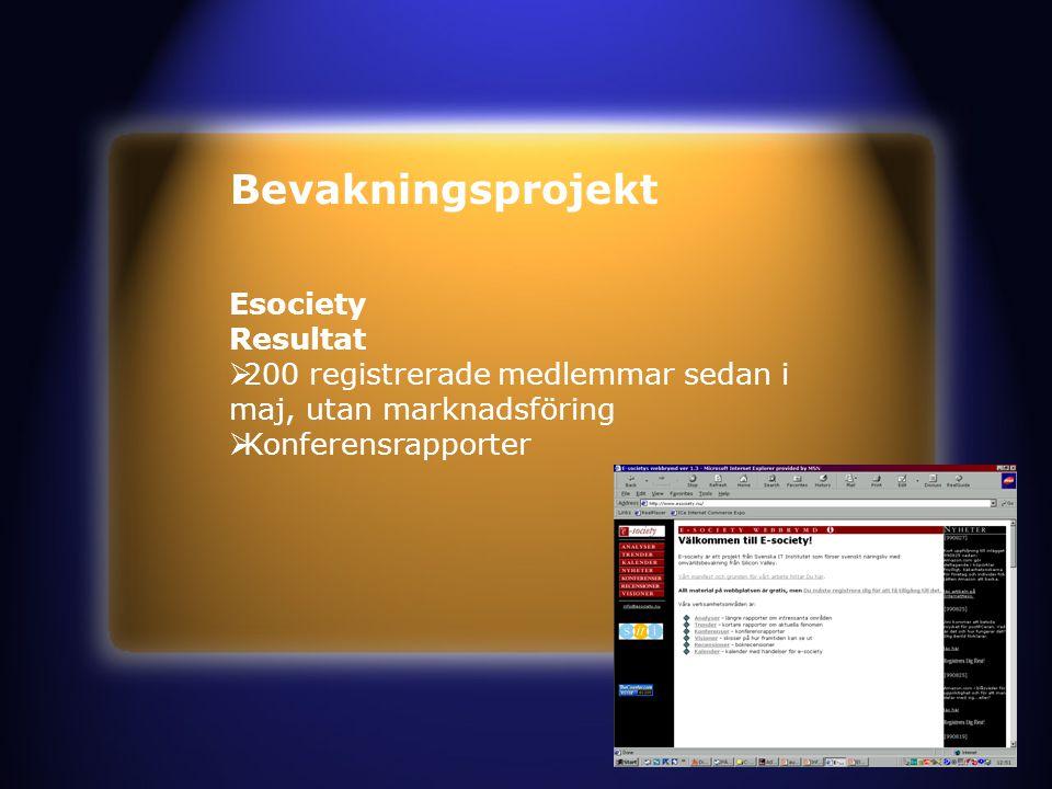 Bevakningsprojekt Esociety Resultat  200 registrerade medlemmar sedan i maj, utan marknadsföring  Konferensrapporter
