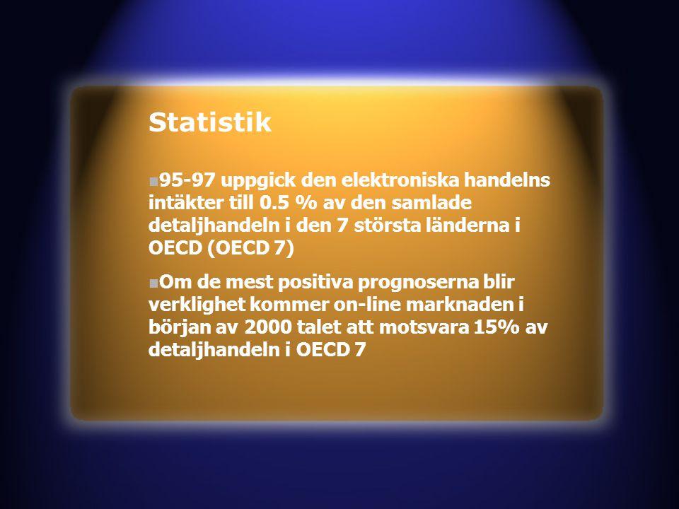 n 95-97 uppgick den elektroniska handelns intäkter till 0.5 % av den samlade detaljhandeln i den 7 största länderna i OECD (OECD 7) n Om de mest positiva prognoserna blir verklighet kommer on-line marknaden i början av 2000 talet att motsvara 15% av detaljhandeln i OECD 7 Statistik