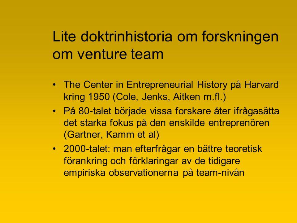 Lite doktrinhistoria om forskningen om venture team The Center in Entrepreneurial History på Harvard kring 1950 (Cole, Jenks, Aitken m.fl.) På 80-talet började vissa forskare åter ifrågasätta det starka fokus på den enskilde entreprenören (Gartner, Kamm et al) 2000-talet: man efterfrågar en bättre teoretisk förankring och förklaringar av de tidigare empiriska observationerna på team-nivån