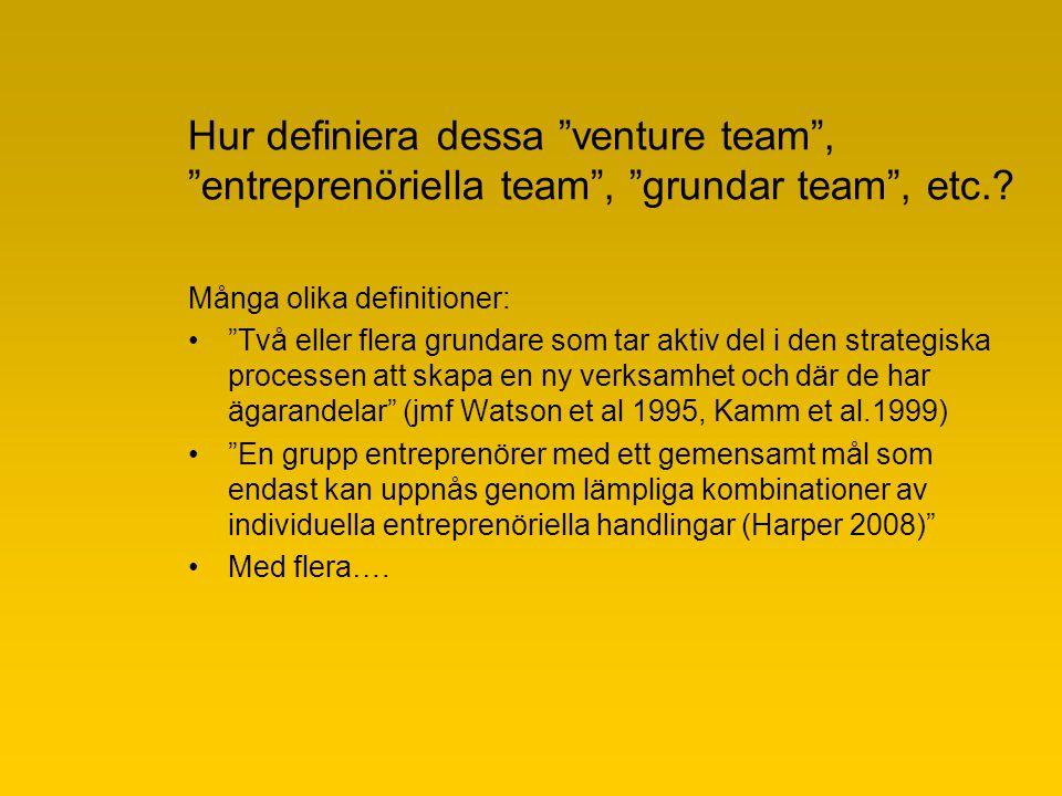 Min egen forskning och bidrag om venture team Tommy Larsson Segerlind, ekon dr tommy.larsson@sh.se Södertörns högskola, Institutionen för ekonomi och företagande och ENTER forum, CEEBS och BEEGS samt Stockholm Universitet, Fek.