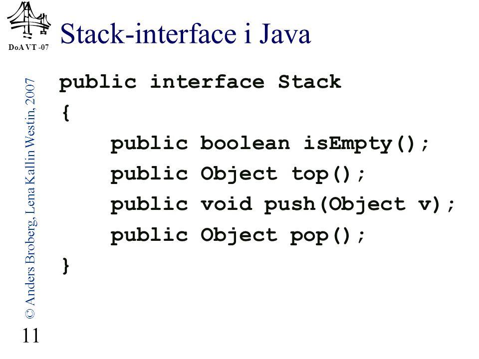 DoA VT -07 © Anders Broberg, Lena Kallin Westin, 2007 11 Stack-interface i Java public interface Stack { public boolean isEmpty(); public Object top(); public void push(Object v); public Object pop(); }
