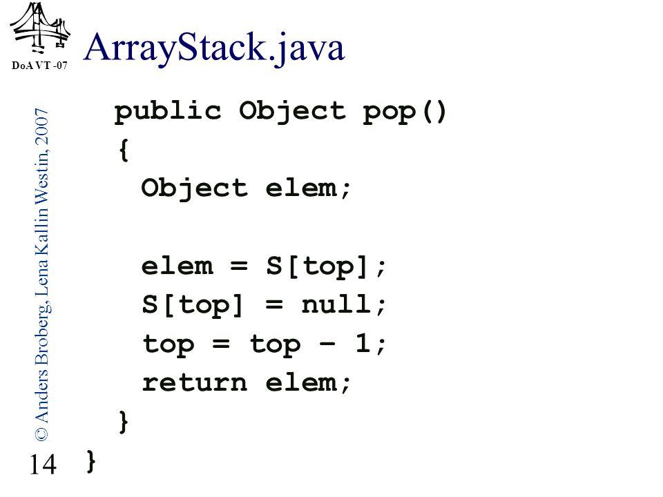 DoA VT -07 © Anders Broberg, Lena Kallin Westin, 2007 14 ArrayStack.java public Object pop() { Object elem; elem = S[top]; S[top] = null; top = top – 1; return elem; }