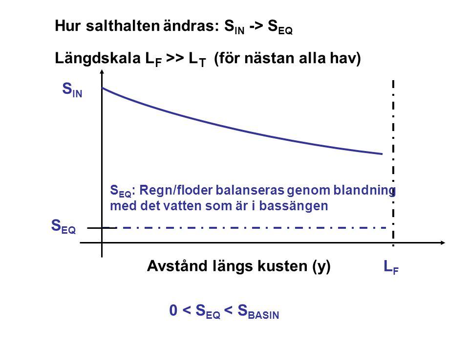 LFLF Avstånd längs kusten (y) Hur salthalten ändras: S IN -> S EQ Längdskala L F >> L T (för nästan alla hav) S EQ S IN 0 < S EQ < S BASIN S EQ : Regn/floder balanseras genom blandning med det vatten som är i bassängen
