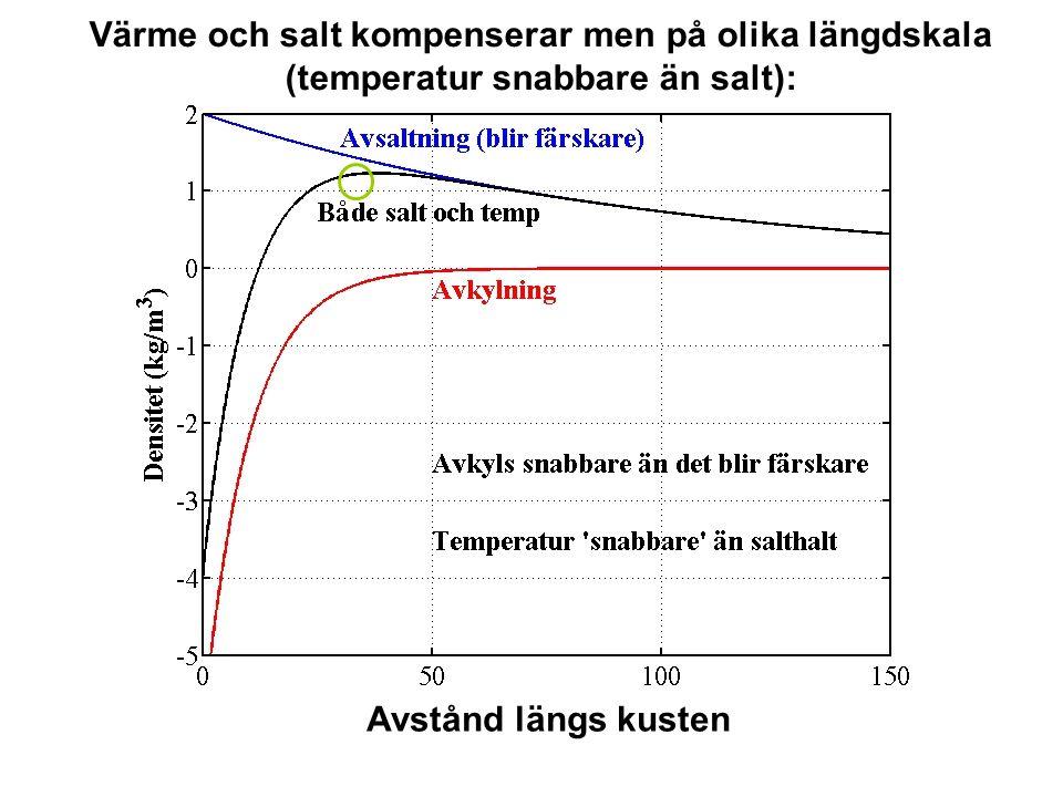 Värme och salt kompenserar men på olika längdskala (temperatur snabbare än salt): Avstånd längs kusten
