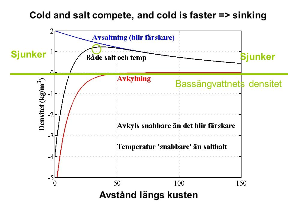 Sjunker Cold and salt compete, and cold is faster => sinking Avstånd längs kusten Bassängvattnets densitet