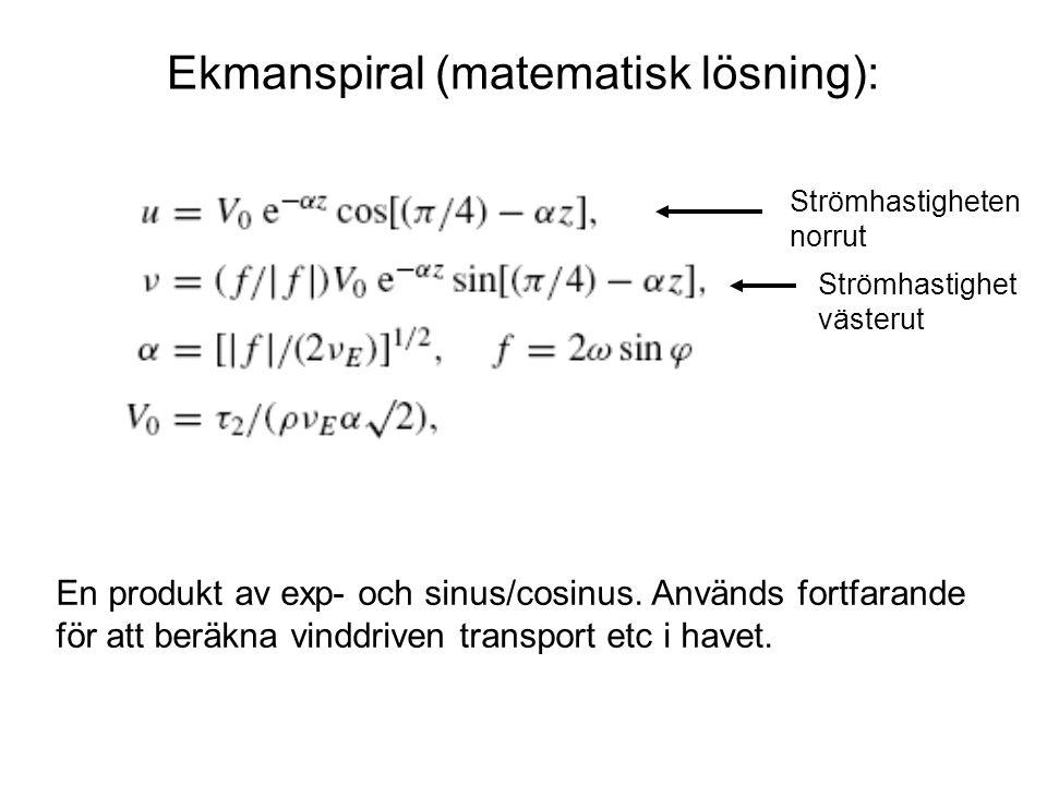 Ekmanspiral (matematisk lösning): En produkt av exp- och sinus/cosinus.