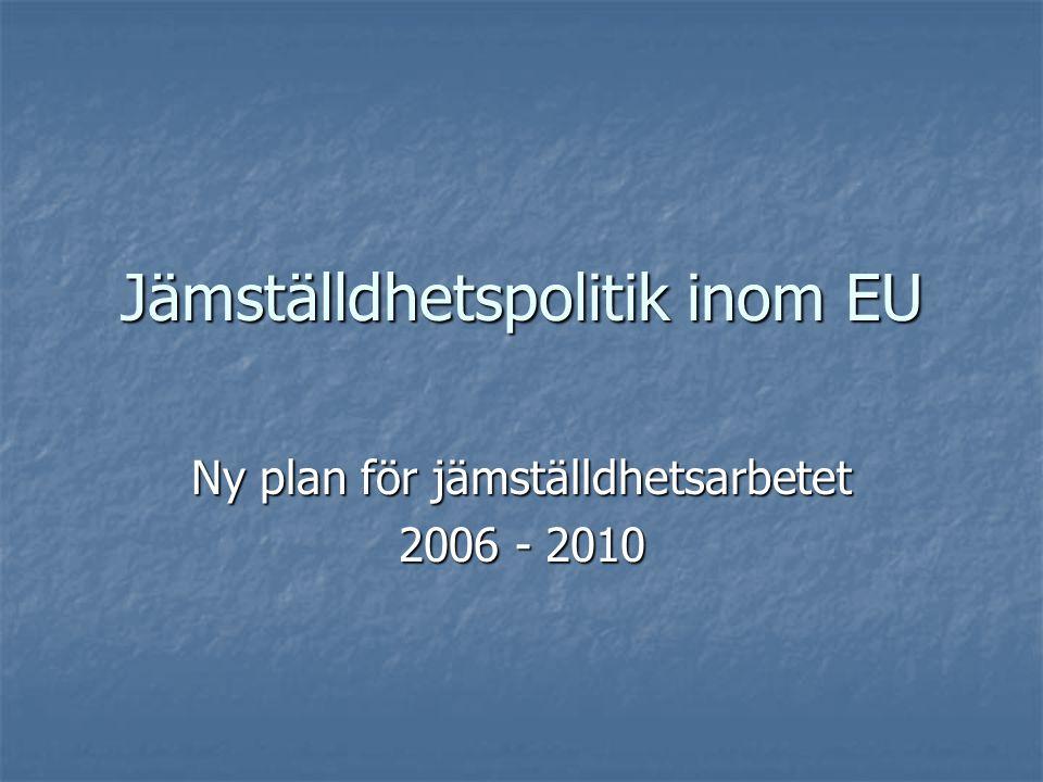 Jämställdhetspolitik inom EU Ny plan för jämställdhetsarbetet 2006 - 2010