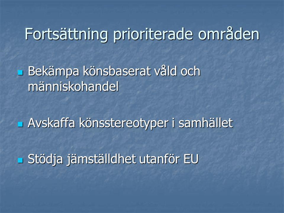 Fortsättning prioriterade områden Bekämpa könsbaserat våld och människohandel Bekämpa könsbaserat våld och människohandel Avskaffa könsstereotyper i samhället Avskaffa könsstereotyper i samhället Stödja jämställdhet utanför EU Stödja jämställdhet utanför EU