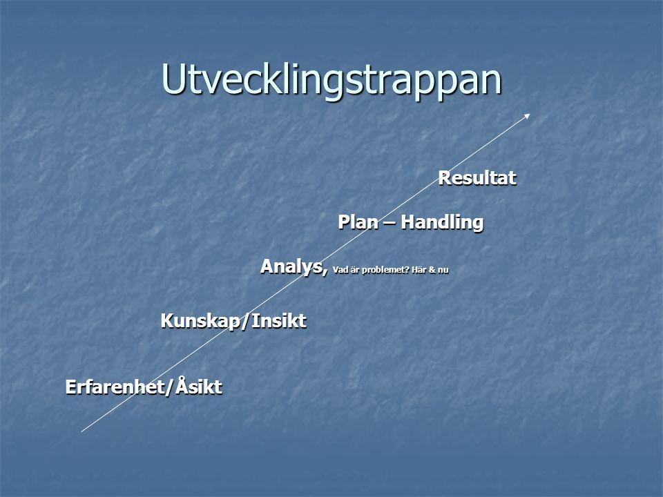 Utvecklingstrappan Resultat Plan – Handling Plan – Handling Analys, Vad är problemet.