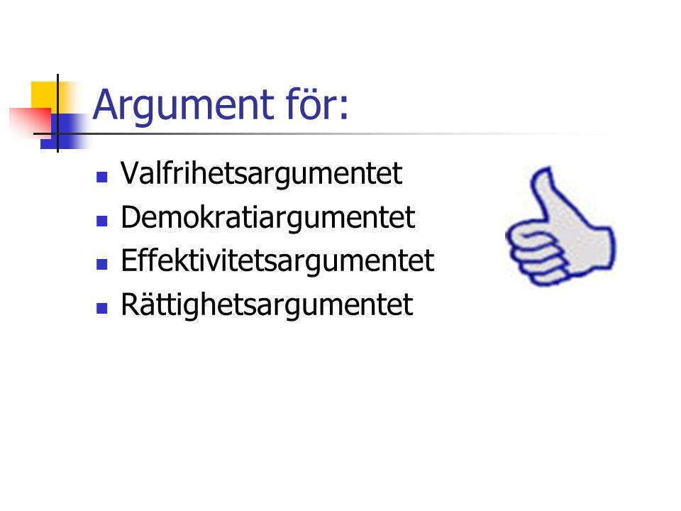 Argument för: Valfrihetsargumentet Demokratiargumentet Effektivitetsargumentet Rättighetsargumentet
