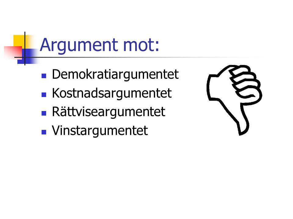 Argument mot: Demokratiargumentet Kostnadsargumentet Rättviseargumentet Vinstargumentet