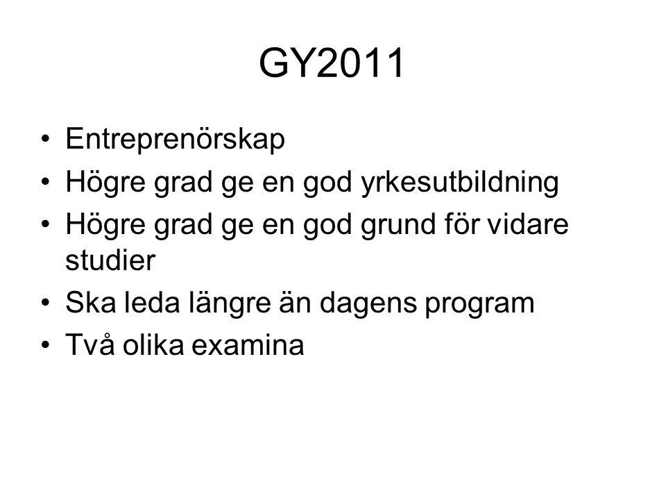 Nationella program Yrkesprogram 12 st Högskoleförberedande program 6 st Totalt 18 program med 60 inriktningar Olika examina Olika behörighet till och från programmen
