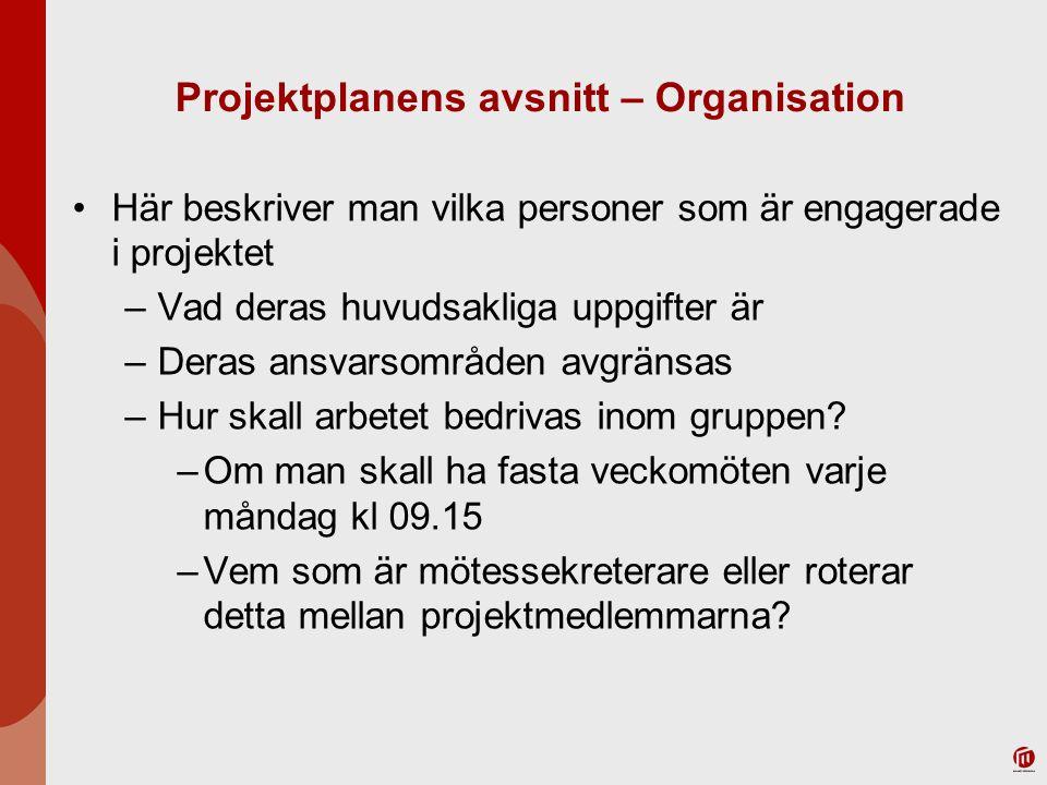 Projektplanens avsnitt – Organisation Här beskriver man vilka personer som är engagerade i projektet –Vad deras huvudsakliga uppgifter är –Deras ansva