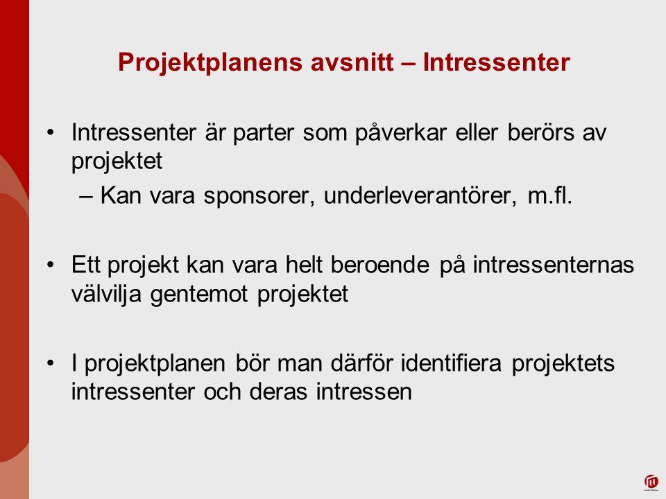 Projektplanens avsnitt – Intressenter Intressenter är parter som påverkar eller berörs av projektet –Kan vara sponsorer, underleverantörer, m.fl. Ett