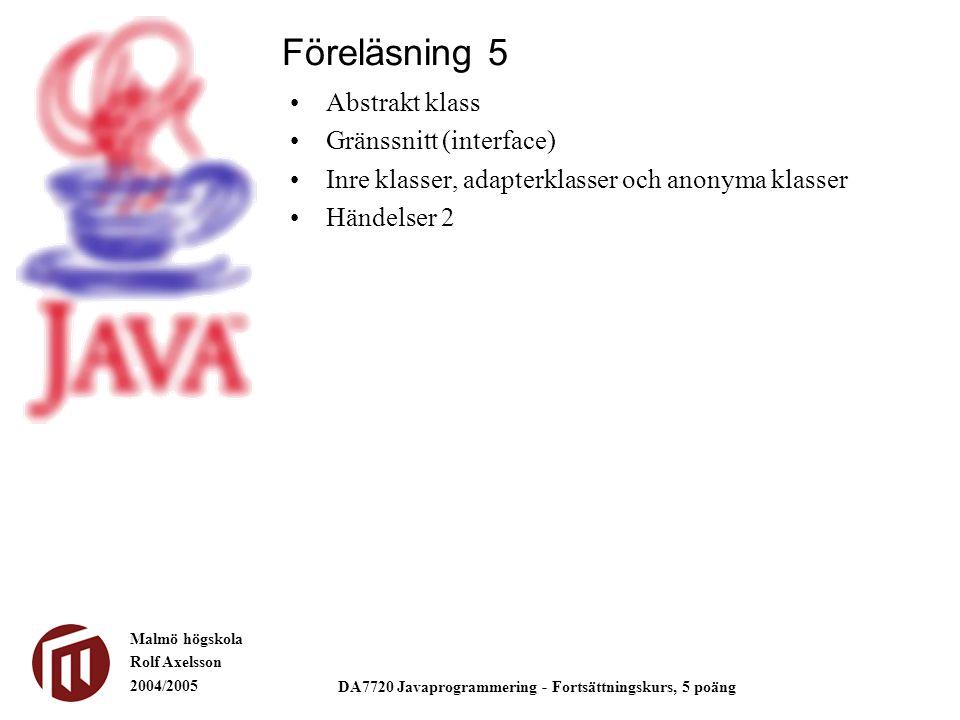 Malmö högskola Rolf Axelsson 2004/2005 DA7720 Javaprogrammering - Fortsättningskurs, 5 poäng Abstrakt klass Gränssnitt (interface) Inre klasser, adapterklasser och anonyma klasser Händelser 2 Föreläsning 5