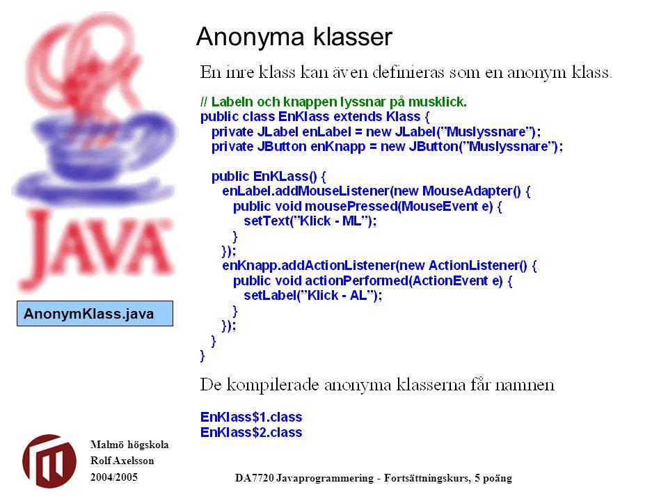 Malmö högskola Rolf Axelsson 2004/2005 DA7720 Javaprogrammering - Fortsättningskurs, 5 poäng Anonyma klasser AnonymKlass.java
