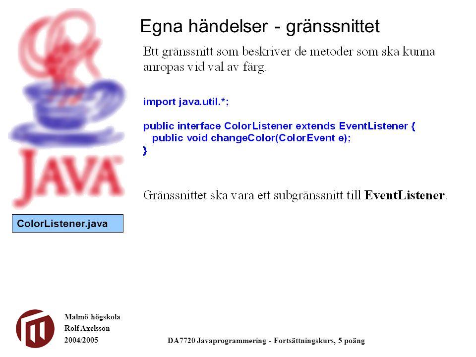 Malmö högskola Rolf Axelsson 2004/2005 DA7720 Javaprogrammering - Fortsättningskurs, 5 poäng Egna händelser - gränssnittet ColorListener.java