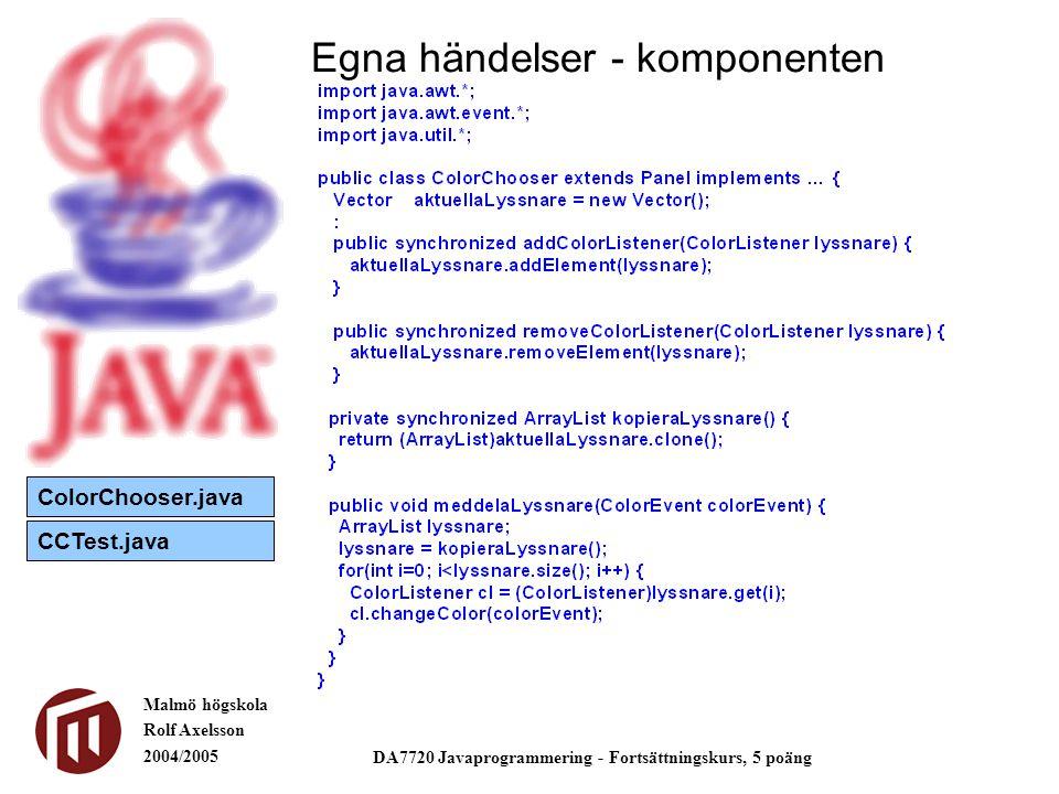 Malmö högskola Rolf Axelsson 2004/2005 DA7720 Javaprogrammering - Fortsättningskurs, 5 poäng Egna händelser - komponenten ColorChooser.java CCTest.java