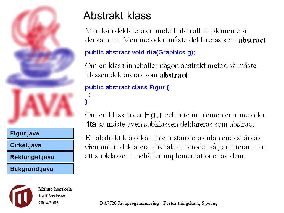 Malmö högskola Rolf Axelsson 2004/2005 DA7720 Javaprogrammering - Fortsättningskurs, 5 poäng Abstrakt klass Figur.java Cirkel.java Rektangel.java Bakgrund.java