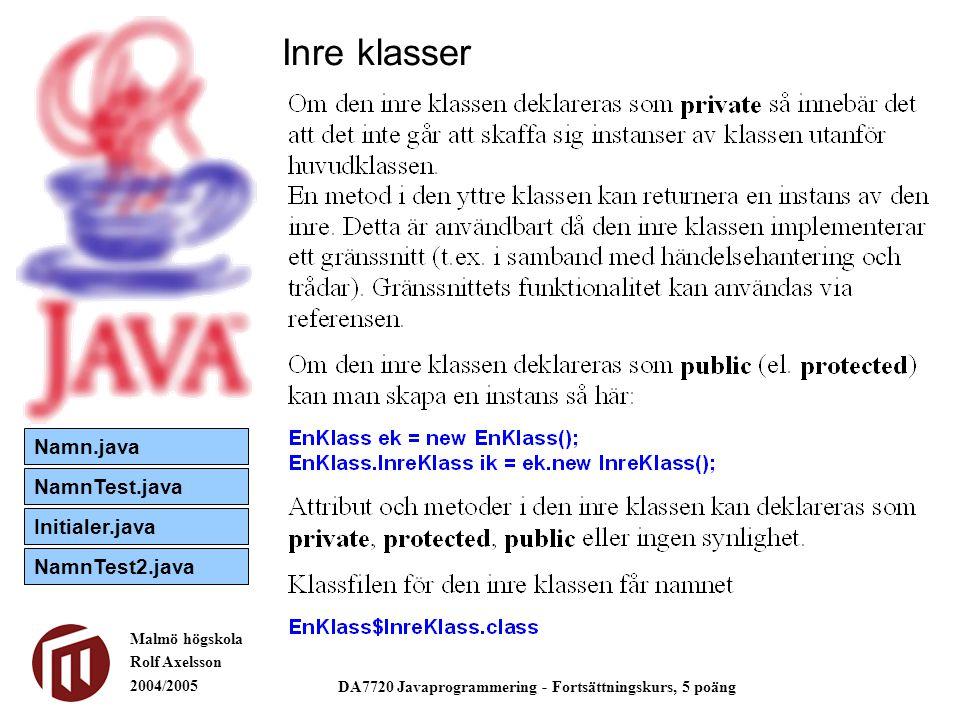 Malmö högskola Rolf Axelsson 2004/2005 DA7720 Javaprogrammering - Fortsättningskurs, 5 poäng Inre klasser och händelsehantering Separera.java