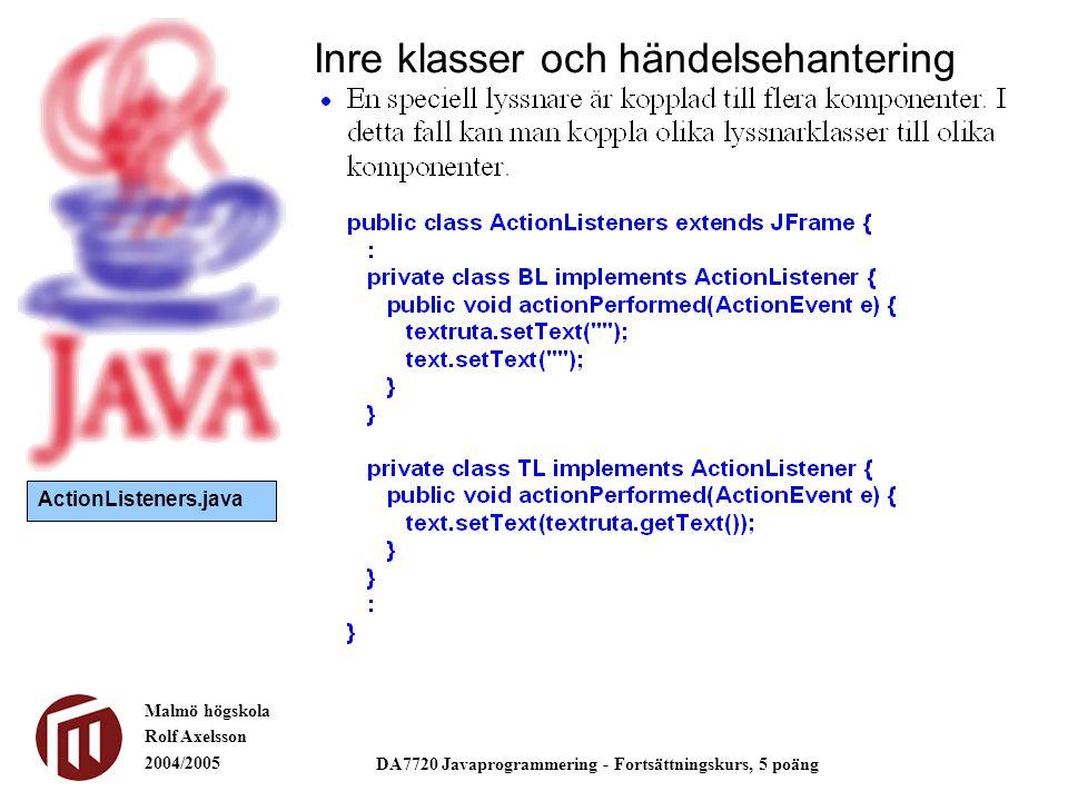 Malmö högskola Rolf Axelsson 2004/2005 DA7720 Javaprogrammering - Fortsättningskurs, 5 poäng Inre klasser och händelsehantering ActionListeners.java