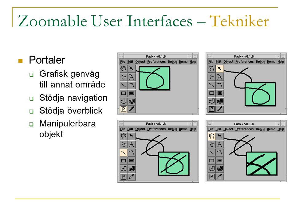 Zoomable User Interfaces – Tekniker Portaler  Grafisk genväg till annat område  Stödja navigation  Stödja överblick  Manipulerbara objekt