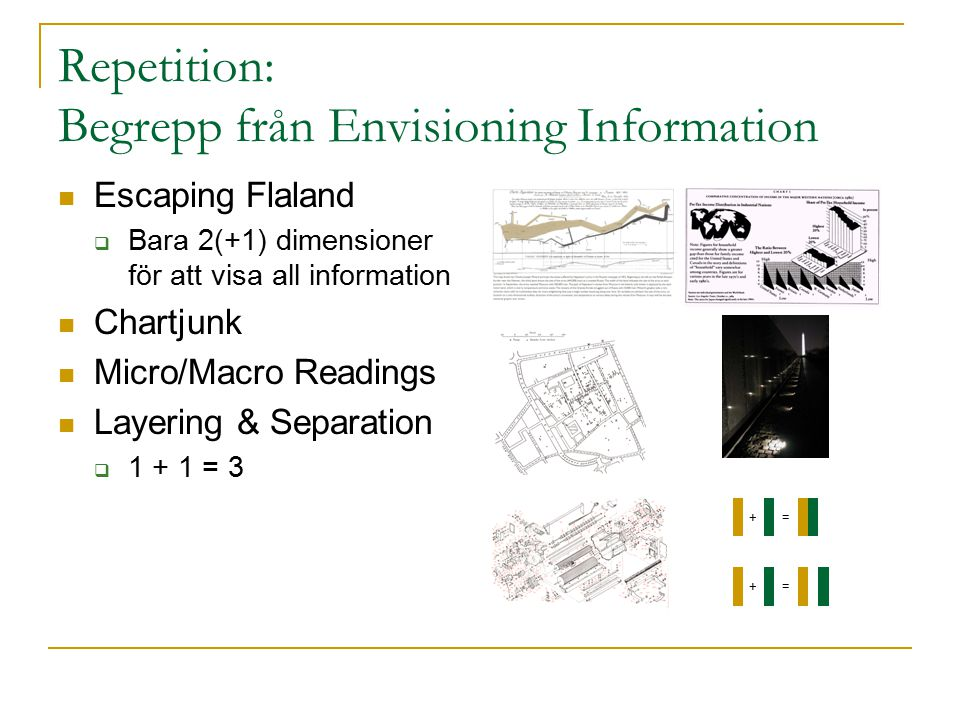 Repetition: Begrepp från Envisioning Information Escaping Flaland  Bara 2(+1) dimensioner för att visa all information Chartjunk Micro/Macro Readings