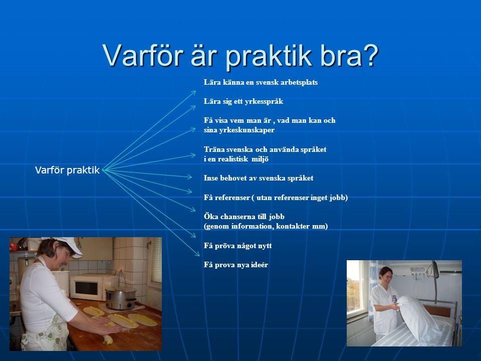 Varför är praktik bra? Lära känna en svensk arbetsplats Lära sig ett yrkesspråk Få visa vem man är, vad man kan och sina yrkeskunskaper Träna svenska