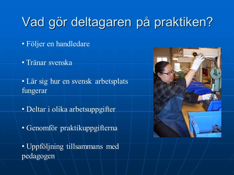 Vad gör deltagaren på praktiken? Följer en handledare Tränar svenska Lär sig hur en svensk arbetsplats fungerar Deltar i olika arbetsuppgifter Genomfö