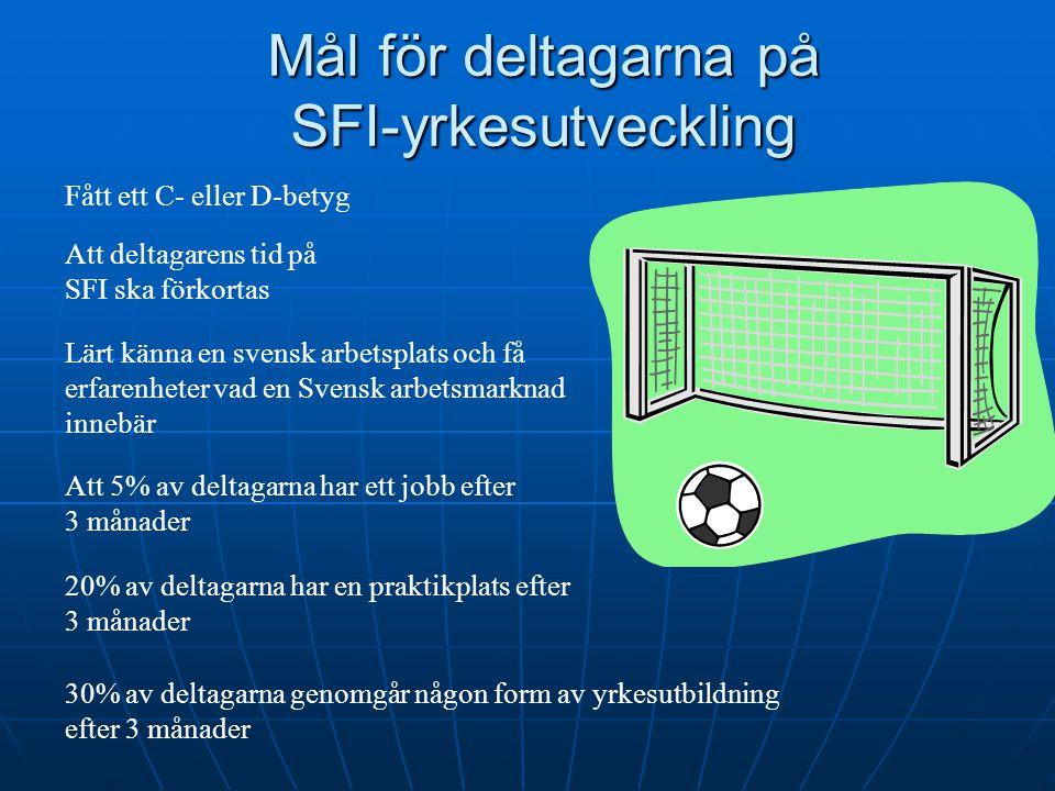 Mål för deltagarna på SFI-yrkesutveckling Fått ett C- eller D-betyg Lärt känna en svensk arbetsplats och få erfarenheter vad en Svensk arbetsmarknad i