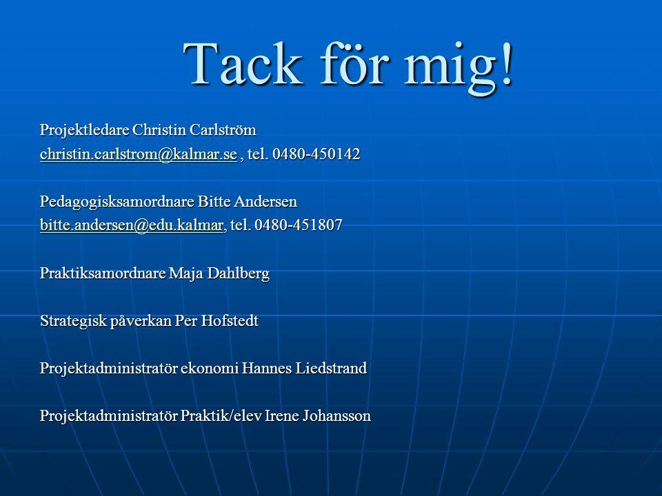 Tack för mig! Projektledare Christin Carlström christin.carlstrom@kalmar.sechristin.carlstrom@kalmar.se, tel. 0480-450142 christin.carlstrom@kalmar.se