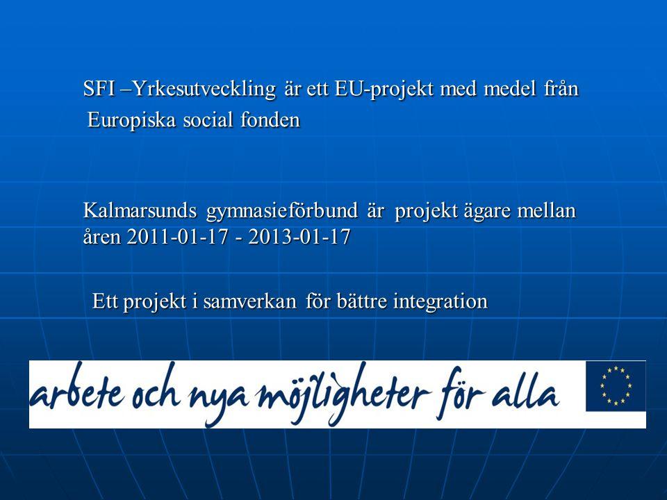 SFI –Yrkesutveckling är ett EU-projekt med medel från Europiska social fonden SFI –Yrkesutveckling är ett EU-projekt med medel från Europiska social f