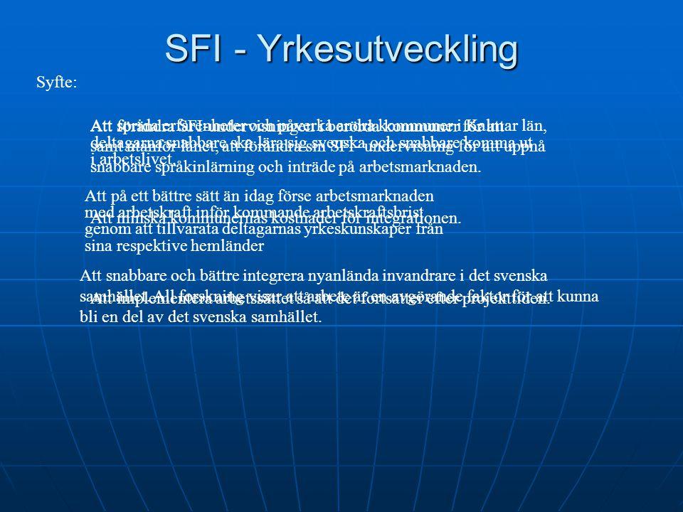 SFI - Yrkesutveckling Att förändra SFI-undervisningen i berörda kommuner för att deltagarna snabbare ska lära sig svenska och snabbare komma ut i arbe