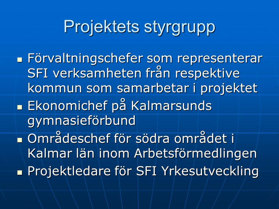 Projektets styrgrupp Förvaltningschefer som representerar SFI verksamheten från respektive kommun som samarbetar i projektet Förvaltningschefer som re
