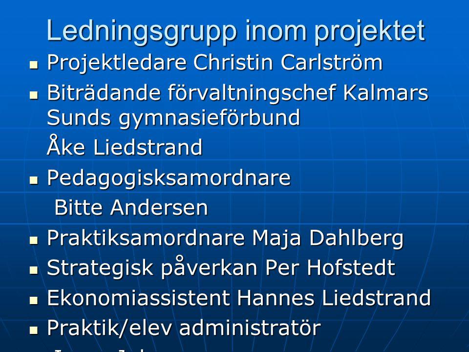 Ledningsgrupp inom projektet Projektledare Christin Carlström Projektledare Christin Carlström Biträdande förvaltningschef Kalmars Sunds gymnasieförbu